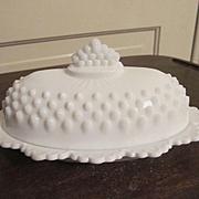 Fenton Hobnail Milk Glass Butter Dish