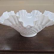 Fenton Hobnail Milk Glass Crimped Ruffled Bowl