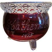 Souvenir Ruby Stained Kettle Toothpick Holder, 1915 Katherine