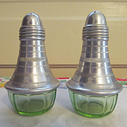 Hazel Atlas Green Depression Aluminum Top Salt Pepper Shakers