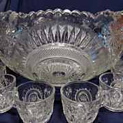 SOLD Lovely EAPG Slewed Horseshoe Punch Set with 18 Cups
