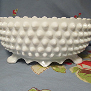 """SOLD Fenton Hobnail Milk Glass 3 Footed  8 1/2"""" Bowl, Paper Label"""