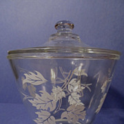 Fire King Hocking Grease Jar, Maple Leaves