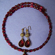 Monet Ruby Teardrop Pendant Choker Necklace, Wire Drop Earrings