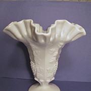 """Westmoreland Paneled Grape 8 1/2"""" Ruffled Vase"""