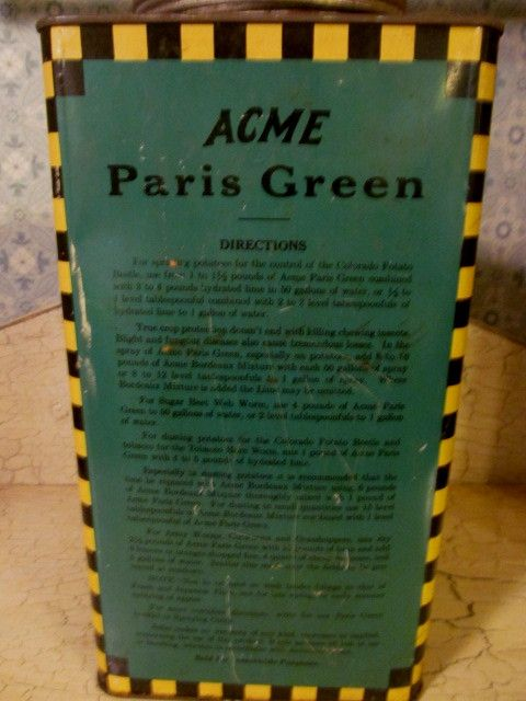 Old Acme 14lb Paris Green Poison Metal Tin From Rubylane
