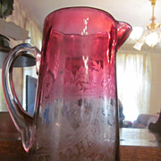 """Lovely Rubina Motto, """"Peace & Happiness"""",Floral Pitcher"""