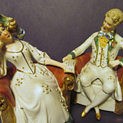 """Germany Porcelain  5 1/4""""  Lady,Gent, Couple Figurines"""