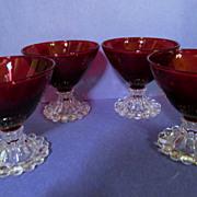 "SOLD 4 Hocking Ruby Boopie 3 1/2""  Goblets"