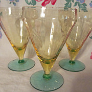 3 Lovely Canary Yellow & Green Goblets