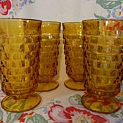 4 Amber Whitehall Cubist,Indiana Water Tumblers