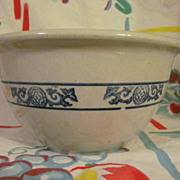 Stoneware Blue Banded Decorated Mixing Bowl