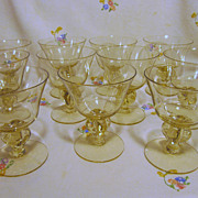 SALE PENDING Cambridge Allegro Gold Krystol Champagne Goblets