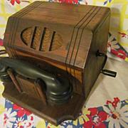 Neat Old Wood Crank Desk,Office Telephone