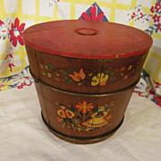 Wood Stave Folk Art Painted Bucket