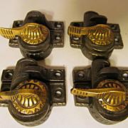 SOLD 4 Victorian Eagle Wing Window Sash Locks , Brass Tops