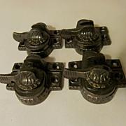 4 CI Victorian Eastlake Window Locks & Keepers