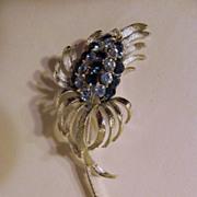 "Pretty Coro 3 3/4"" Flower Brooch, Blue Rhinestones"