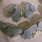 Leru Blue Lucite Necklace,Clip Earring Set