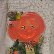 "Halloween 13"" Googly Moving Eyes Pumpkin, 2 Sided Stand Up Norcross Card"