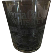 Neat Pre-Prohibition Whiskey Shot Glass with Egyptian Scene, Peoria Co. Club Whiskey