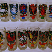 SOLD Indiana 12 Day of Christmas Glasses