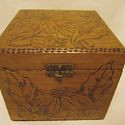 Flemish Pyrography Box, Poinsettias..Christmas,New Year Gift