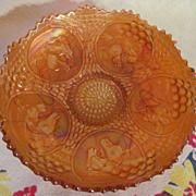 Fenton Carnival Horse Medallion with Berry & Leaf Circle Back Pattern Bowl, Pumpkin Marigold