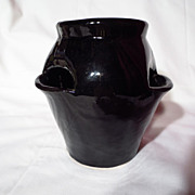 "Vintage McCoy Pottery 7"" Gloss Black Strawberry Vase"