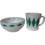 Vintage Fire King Green Diamond Mug and Bowl Set