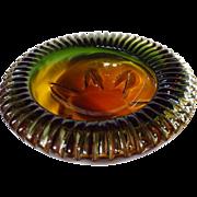 Unusual Lorraine Glass Three Color Crimped Edge Bowl