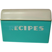Retro Lustro-Ware B-25 Turquoise Recipe Box With Recipes