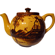 SOLD Early Vintage Medalta Yellow Ware Windmill Decorated Teapot
