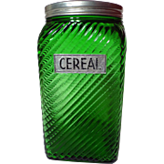 Vintage Owens-Illinois Emerald Green Ruff N Ready Cereal Canister