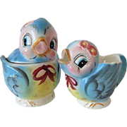 Vintage Lefton Bluebird Cream & Sugar #7170