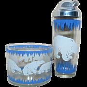 Vintage Hazel Atlas POLAR BEAR Cocktail Shaker and Ice Bucket