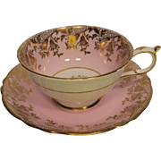 Early PARAGON Pink with Rich Gilt Overlay Tea Cup and Saucer