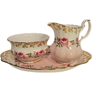 Royal Albert Bridesmaid Creamer, Sugar Bowl and Under Tray