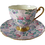 SHELLEY Pink Summer Glory Chintz Ripon Shaped Cup and Saucer