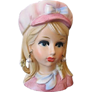 Rubens 4155 Teen Head Vase - Pink Hat with Blue Bow