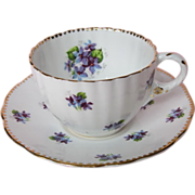 "Royal Stafford ""Sweet Violets"" Hand Painted Tea Cup & Saucer"