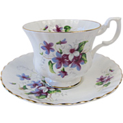 Royal Albert Hand Painted Purple & White Violets ~ Tea Cup and Saucer