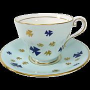 Vintage Aynsley Tea Cup Set with Unique Clover Emblems