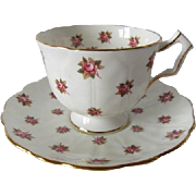 Vintage AYNSLEY Rose Buds on Petal Embossed Cup and Saucer