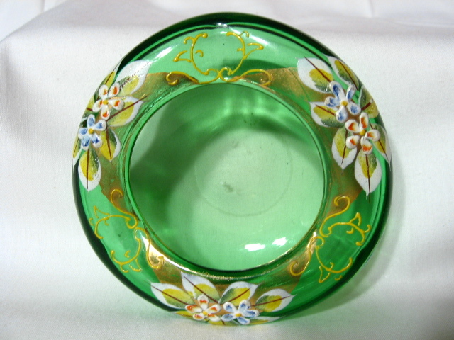 Bohemian Green Glass Enameled Crimped Bowl