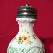 Victorian Opaque Milk Glass Sugar Shaker With Handpainted Flowers