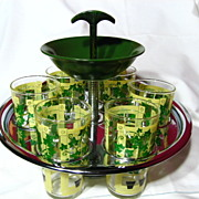 Hocking Chrome And Bakelite Tumbler Drink Caddy