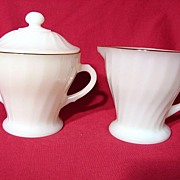 REDUCED Fire King Golden Shell Creamer & Covered Sugar