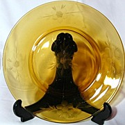Vintage 1950's Jeannette Amber Wheel Cut Decorated Plate - 7 Available
