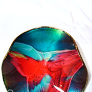 Vintage Seetusee Small Wavy Art Glass Dish